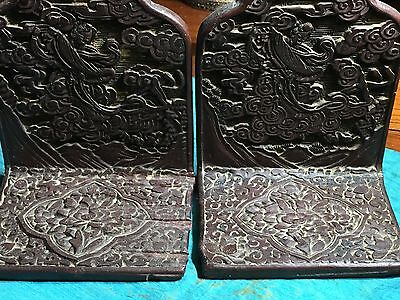 Pair Of Antique Chinese Cinnabar Bookend