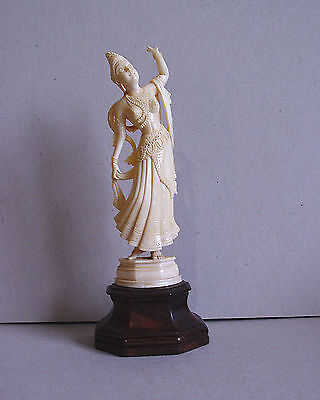 Indian Antique Woman 19 th century Carved Bovine Bone Figure Figurine
