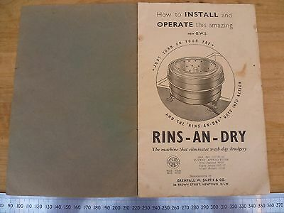 Vintage Old G.w.s Rins An Dry Washing Machine Sales Brochure, Book (D13)