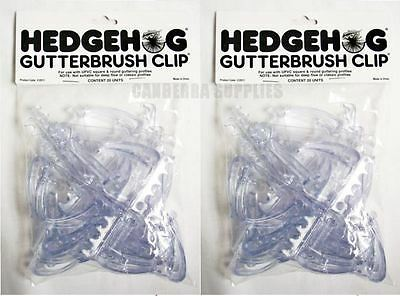 40 x HEDGEHOG GUTTERBRUSH CLIPS TO SECURE UPVC SQUARE & ROUND GUTTERING