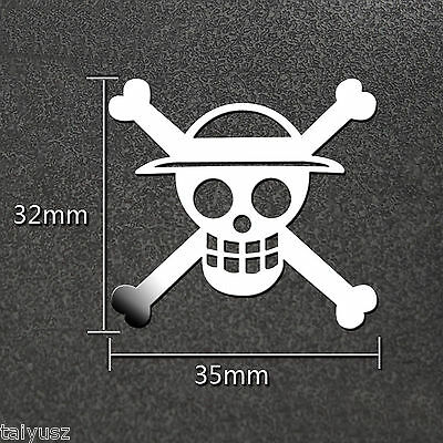 Anime One Piece Cosplay Silver Metal Decal Sticker For Phone Car Sticker