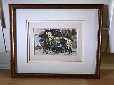 Charming Signed Vintage Watercolour Painting Of Of Leopard In Wood Frame