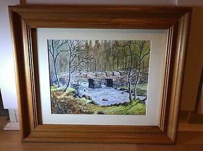 Lovely Watercolour Painting Of Winter River Scene In Wood Frame