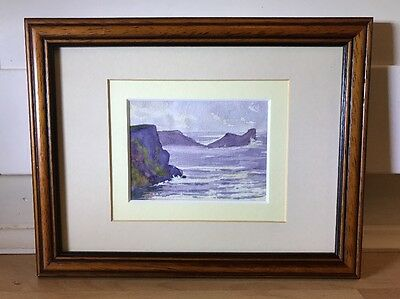 Beautiful Watercolour Painting Of Seascape In Wood Frame