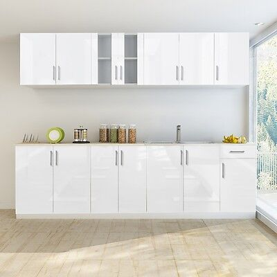 New 8 pcs High Gloss White Kitchen Cabinet Unit with Sink Base 260 cm Pre-built