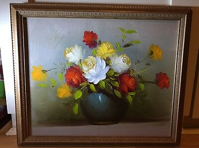 Beautiful Oil Painting On Board Of Roses In Ornate  Frame