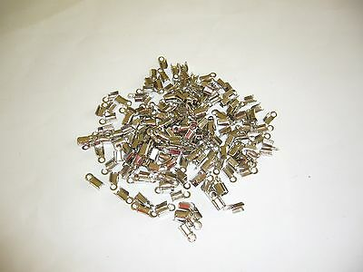 200 Folding Crimp End Bead Necklace Cord Silver Tone 9x4mm Findings