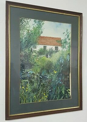 Large vintage watercolour painting in gold gilt and oak frame, signed