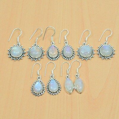 925 Solid Sterling Silver Wholesale 5Pair Natural Rainbow Moon Stone Earring Lot