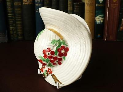 Vintage 1930's Cream Bonnet Wall Pocket - Red & Green Flowers Decoration