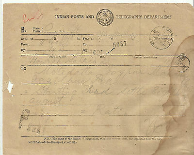 India 1958 Post and Telegraph Foreign Telegram To Pakistan unique number Cacnel