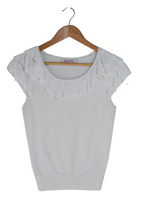 Review White Cap Sleeve Ruffle Trim Knit Top Size 8