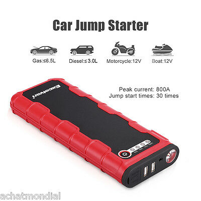 800A Car Jump Starter Booster Charger Battery Power Bank Dual USB Charging Ports