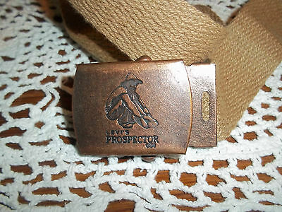 Vintage 70's / 80's Levi's Web Belt With Prospector Belt Buckle Size Large