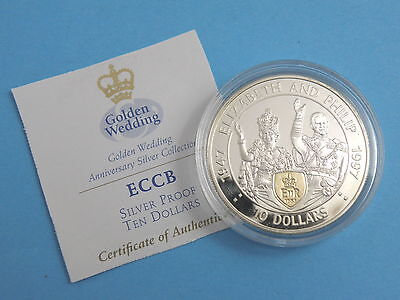 EAST CARIBBEAN STATES - 1997 SILVER PROOF with GOLD CAMEO 10 DOLLAR COIN