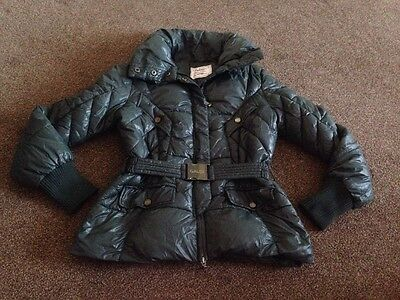 Women Winter Padded Quilted Jacket Dark Green with Elasticated Belt Size 10