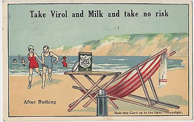 Take Virol and Milk Advert Hold to the Light Postcard 1920s? Mystery Silhouette