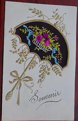 France, printed & embroidered card dated 1924, written, unposted