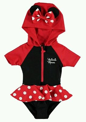 Disney Baby Girl Minnie Swimsuit Swimming Costume Hooded  18 - 24 Months