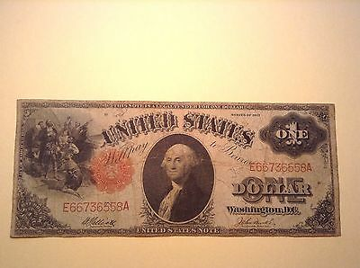 1917 Large Size Note $ 1 One Dollar Bill Red Seal Banknote