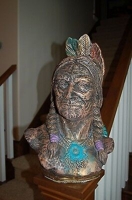 Large Vintage Cast Plaster Native American Bust...Myan...Chief...9 3/4 Lbs