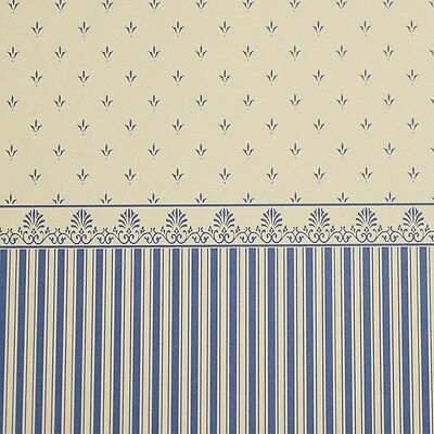 NEW Dolls House Wallpaper *Grosvenor Blue / Cream WP714