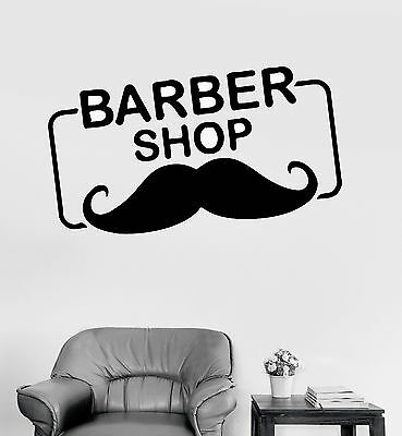 Vinyl Wall Decal Barber Shop Logo Mustache Hair Salon Stickers (ig4223)