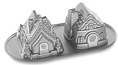 Nordic Ware Heavy Cast Aluminum Gingerbread Cottages Baking Pan BNIP
