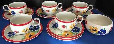 Block Hearthstone Anemone Vintage Vista Alegre Portugal 5 X Cups Saucers & Bowl