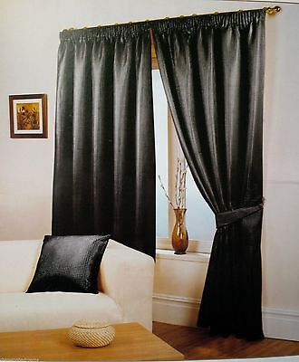 "Luxury Waffle Effect Fully Lined Pencil Pleat Black Curtains 66"" X 54"""