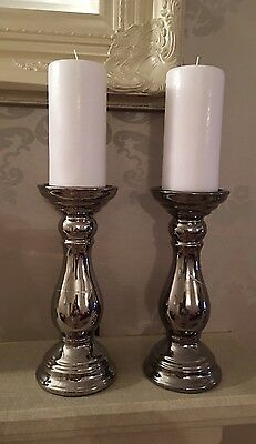 Contemporary Silver Chrome Large Candlestick Holder and White Pillar Candle X2