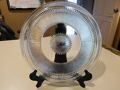 Vintage Depression Jeanette Glass Co. Anniversary 3 Footed Cake Plate 11-1/2""