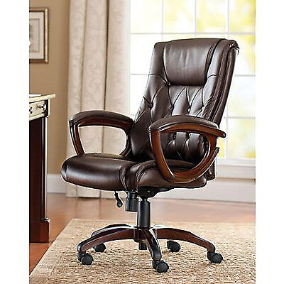 Heavy Duty Leather Rolling Office Chair Brown High Back Executive Desk