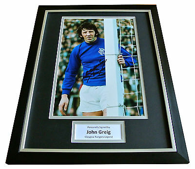 JOHN GREIG Signed Framed Photo Mount AUTOGRAPH RANGERS Football Display PROOF