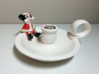 Vintage Mickey Mouse Santa Christmas Candle Holder Japan Disney