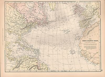 1882 Large Antique Map - The North Atlantic Ocean On The Gnomic Projection