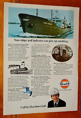 1972 Gulf Oil Canada Ad With Vintage Cargo Ship - Vintage Canadian 1970S Retro