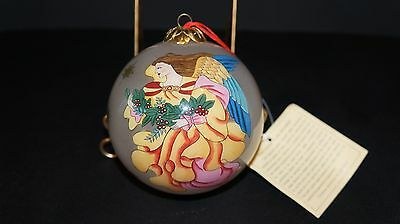Les Hans Inside Painted Glass Angel Christmas Ornament with Original Tag  (E)