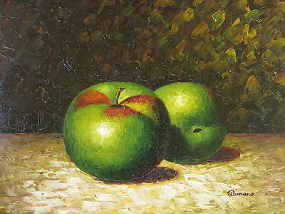 "Green Apples Original Hand Painted 12""x16"" Oil Painting Food Canvas Art"