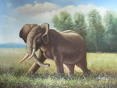"Elephant on Move Original Hand Painted 12""x16"" Oil Painting Animal Canvas Art"