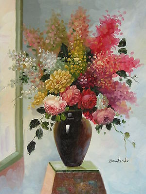 "Halifax Flowers Original Hand Painted 12""x16"" Oil Painting Floral Canvas Art"