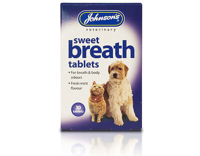 JOHNSONS SWEET BREATH 30 TABLETS for breath & body odours cat - dog mint flavour