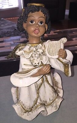 African American Angel With Harp TBL