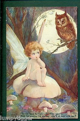 TUCK 3032 IN FAIRYLAND TO WIT SAYS THE OWL BY FRED SPURGIN,vintage postcard
