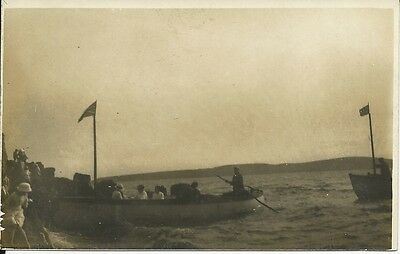 Vintage RP postcard of boats and coastline.  Unknown location, possibly Weston