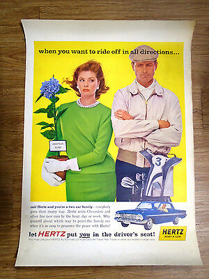 "1962 HERTZ TRAVEL POSTER, COLOR, 23 3/4"" x 33 1/2""  CHEVY IMPALA COUP (6073-B)"