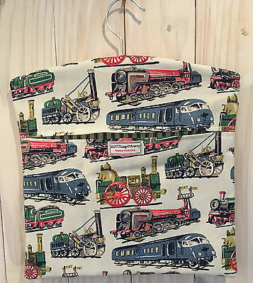 Fabric Peg Bag Handmade In Cath Kidstons' Trains Cotton Duck Fabric