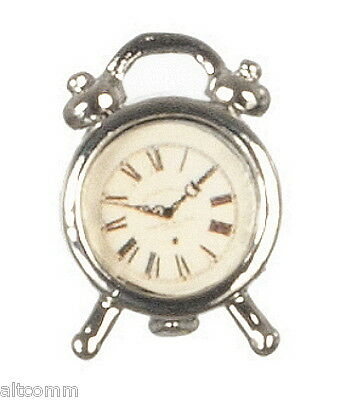 Dollhouse Miniature Silver Alarm Clock Wind-up Type non-working 1:12 Scale  New