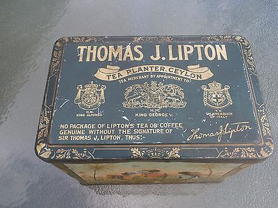 Antique-Thomas J.lipton Tea Planter Ceylon Tea Tin