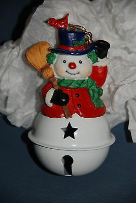 Snowman White Jingle Bell Christmas Ornament -- Holiday Decorations